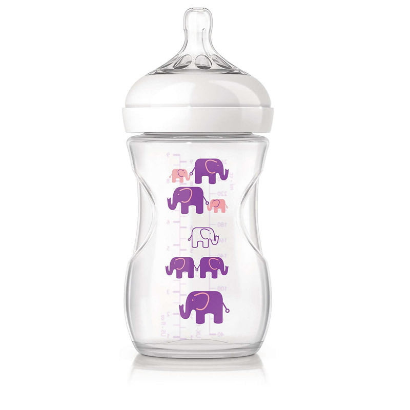 شیشه شیر طلقی فیل بنفش فیلیپس اونت 260 میل «philips avent»
