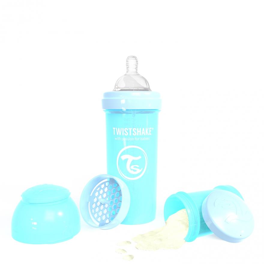 شیشه شیر طلقی 260 میلی لیتر تویست شیک آبی پاستیلی«Twistshake»