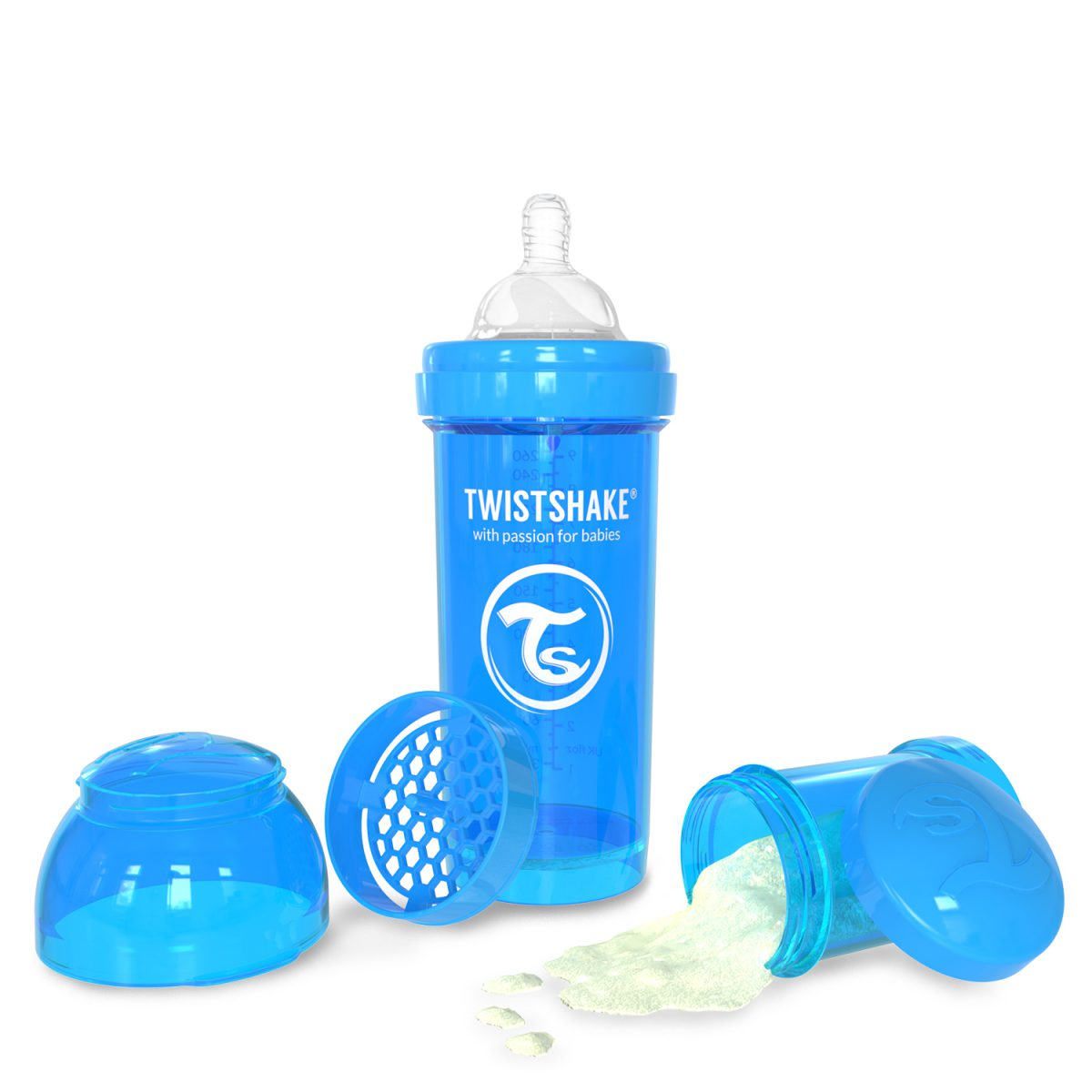 شیشه شیر طلقی 260 میلی لیتر تویست شیک آبی«Twistshake»