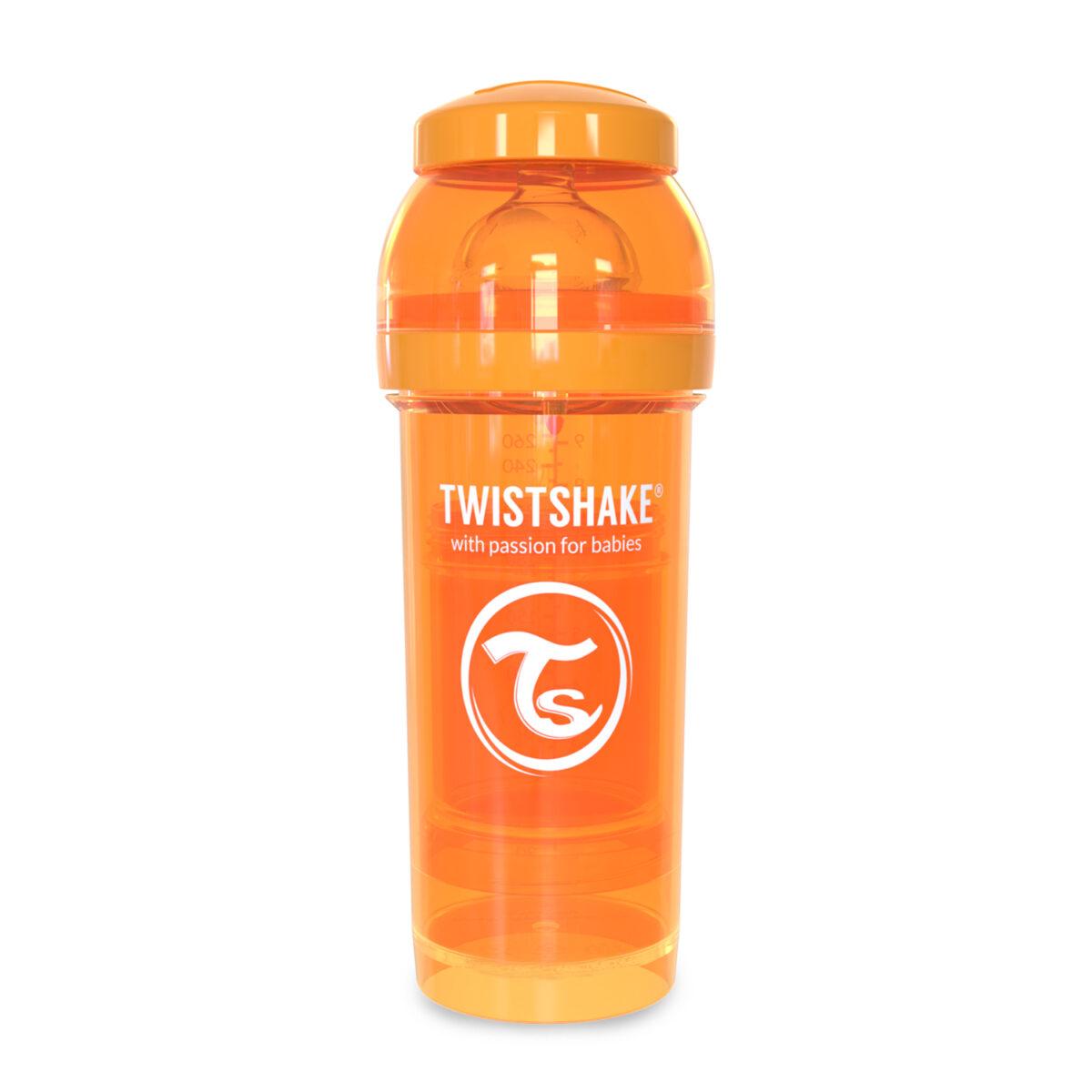 شیشه شیر طلقی 260 میلی لیتر تویست شیک نارنجی«Twistshake»