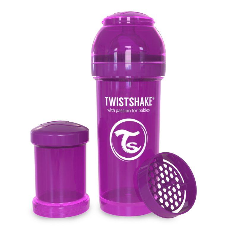 شیشه شیر طلقی 260 میلی لیتر تویست شیک بنفش«Twistshake»