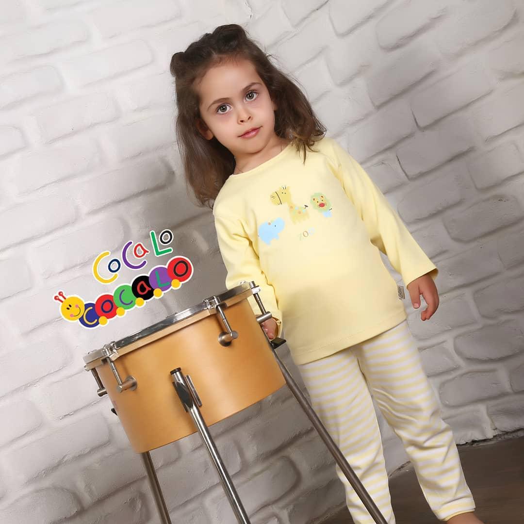 بلوز آستین بلند نوزادی طرح باغ وحش زرد کوکالو