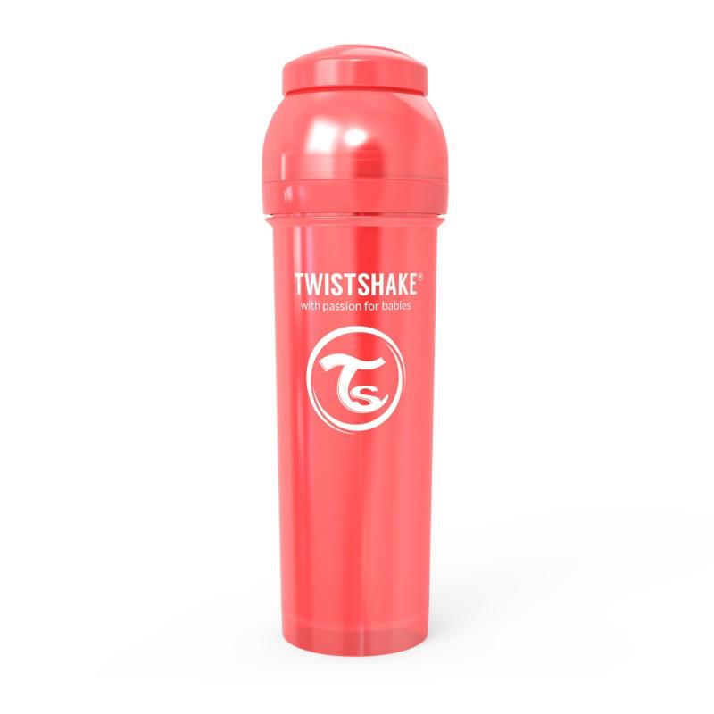 شیشه شیر ضد نفخ 330 میل قرمز صدفی تویست شیک Twistshake