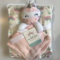 پتو نوزادی با دستمال عروسکی طرح فیل صورتی