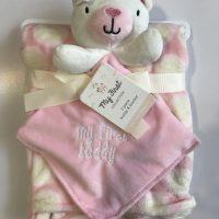 پتو نوزادی با دستمال عروسکی طرح خرس صورتی