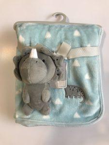 پتو نوزادی با عروسک متصل طرح دایناسور خاکستری