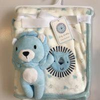 پتو نوزادی با عروسک متصل طرح شیر آبی