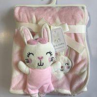 پتو نوزادی با عروسک متصل طرح خرگوش صورتی