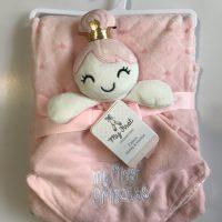 پتو نوزادی با دستمال عروسکی طرح دختر تاج دار