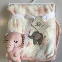 پتو نوزادی با عروسک متصل طرح فیل صورتی
